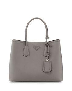 Saffiano+Cuir+Double+Bag,+Gray+(Marmo)+by+Prada+at+Bergdorf+Goodman.