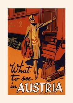 AUSTRIA TRAVEL POSTER Art Deco Travel by EncorePrintSociety