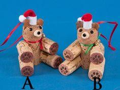 Cork Bear ours Ornament Handmade Christmas Crafts, Diy Christmas Ornaments, Xmas Crafts, Christmas Projects, Diy Crafts, Wine Cork Art, Wine Cork Crafts, Wine Bottle Crafts, Wine Cork Ornaments