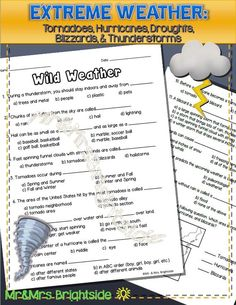Weather worksheet / assessment regarding wild weather that occurs in the United States. Questions focus on tornadoes, hurricanes, droughts, blizzards, and thunderstorms.