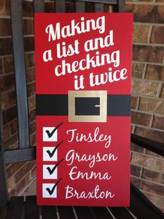 Custom Wood Sign - Making A List And Checking It Twice Personalized- Hand…