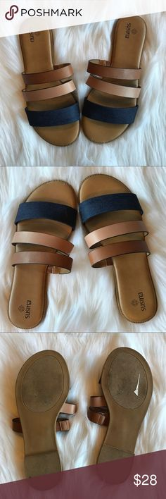 Susina Flat Strappy Sandals Excellent pre worn condition. Hardly any wear worn one time. So cute to wear on vacation or still use as a transition piece for fall! All sales final.  🌟No Returns If Item Doesn't Fit - Please Ask For Measurements Instead (Per Posh Rules)  🌟 No Trades Susina Shoes Sandals