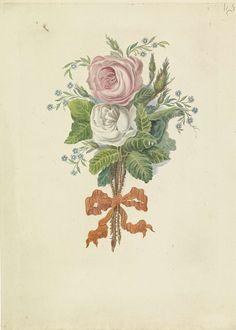 Leonardus Schweickhardt | Rozen met de silhouetten van de Koninklijke familie, 1816, Leonardus Schweickhardt, 1816 | Boeket met een roze en een witte roos waarin de silhouetten van de Koninklijke familie zijn verwerkt. De rozen met een oranjelint bijeen gebonden. Naar aanleiding van het huwelijk van de prins van Oranje en Anna Paulowna te Sint Petersburg op 21 februari 1816. Onder de bloemen een achtregelig vers en lijst van de namen van de geportretteerden.