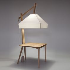 DMY Berlin 2010: designer Leoni Werle of Germany combines an enormous lamp shade with a table to make this workspace.