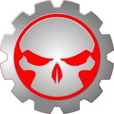 5in x 5in Red Gear Skull Bumper Sticker Car Vinyl Truck Window Decal