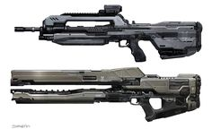 sparth: Halo 4 UNSC and Forerunner weapons. thanks to the 343 concept art team, especially Josh Kao and Gabriel Garza who contributed a lot to the design of these weapons.Battle rifle - Rail Gun - forerunner shotgun - forerunner incinerator - UNSC shotgun - Spartan laser.Microsoft - 343 Industries.