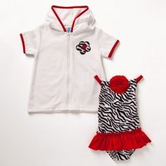 ADORABLE!!! Zebra & ruby baby swimsuit with a cover up!!! Perfection!!! @brandi Stephens rhaelyn would look so cute in this