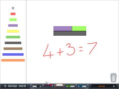 Number Rods ($0.99)  Similar to Cuisenaire® Rods, these virtual colored rods vary in length from 1 to 10 units long.   ★ FEATURES ★ ✔ Colored number rods varying in length from 1 to 10 units ✔ Easy to add, drag, rotate, and remove rods ✔ Optional square grid to more easily see rod lengths ✔ Snapping for easy placement and alignment ✔ Annotation feature to write on the screen with a finger  ★ MATH TOPICS ★ 1. Properties of numbers 2. Fractions 3. Ratios 4. Basic operations