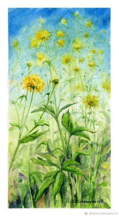 """Купить Акварель """"До неба"""" автор: Желтышева Татьяна - желтый, зеленый, салатовый, цветы"""