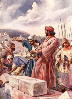 Nehemiah 3 Bible Pictures: Nehemiah building the walls of Jerusalem