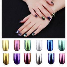 New 2g/box Shinning Magic Mirror Powder Dust Nail Glitters DIY Nail Art Sequins Chrome Pigment Decorations Tools