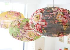 Floral chintz look paper lanterns