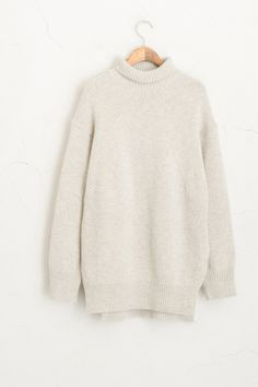 Side Slit Knit Roll neck Jumper, Grey