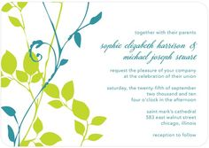 Natural Pair - Signature White Textured Wedding Invitations - Le Papier Boutique - Bright Green - Green : Front