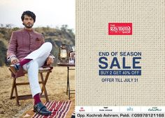 Now is your time to come and grab what you love !  Shop your favourite attires TODAY at The Raymond Seconds Shop - Paldi and avail our exciting 'End of Season Sale' offer :)  #EOSS #EndOfSeasonSale #Raymond #Gentleman #India #Ahmedabad #GentlemanClothing #Style #Fashion #Menswear #Sale #SaleSeason