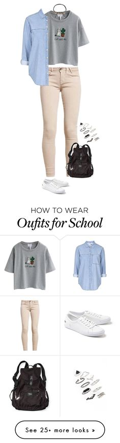 """""""Sin título #4909"""" by xoxominyeol on Polyvore featuring WithChic, Topshop, Shashi, Victoria's Secret PINK and Lacoste"""