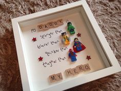 My Daddy is... My Hero with superhero action Lego figures  The perfect gift for Fathers Day Choose from.. Superman Spider-Man Batman Hulk