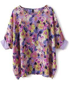 Blusa gasa suelta Floral manga muriciélago-violeta EUR€12.39