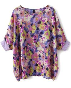 Purple Batwing Sleeve Floral Loose Chiffon Blouse