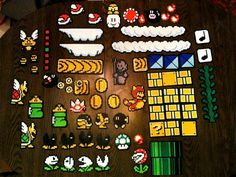 Super Mario Brothers 3 World 5 Perler Bead wall decorations. Comes with everything pictured.