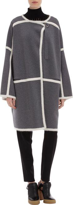 Chloé Angora Тrim Knit Coat in Gray (Grey)