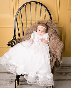*Lace may vary... This beautiful full-length Christening Gown was designed and handmade by Debra Lee Originals. The Lauren is made with a white