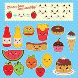 Alimenti A Rapida Preparazione E Frutta Di Kawaii Illustrazione Vettoriale - Immagine: 56404655