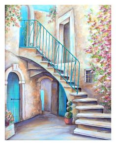 Villa Courtyard ~ by DianeTrierweiler Landscape Pencil Drawings, Pencil Art Drawings, Art Drawings Sketches, Landscape Art, Winding Staircase, Villa, Amazing Drawings, Anime Comics, Watercolor Paintings