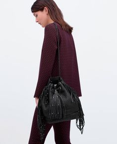 LEATHER BUCKET BAG WITH FRINGES-Woman-NEW THIS WEEK | ZARA United States