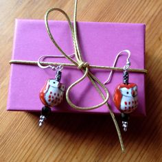 Owl Earrings  Cute Painted Glass Beads  by happytrailsmichelle