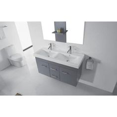 Master Bathroom Option: Virtu USA Opal 48 in. Double Vanity in Grey with Ceramic Vanity Top in White and Mirrors-UM-3067-C-GR at The Home Depot