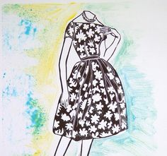 Linocut Print Monotype Midcentury Fashion by Printmistress888