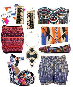 love the tribal look! mainly that skirt and high heels.