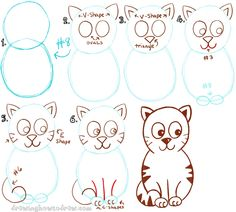 big guide to drawing cartoon cats with basic shapes for kids httpwww - Simple Drawing For Children