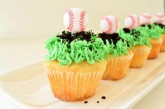 Play ball with these festive and delicious baseball field cupcakes. Make with colored icing and crumbled Oreo cookies, these cupcakes are perfect for a baseball-themed party. Baseball Treats, Baseball Cupcakes, Fun Cupcakes, Cupcake Cakes, Cupcake Recipes, Cupcake Ideas, Coloured Icing, Baseball Birthday Party, Oreo Cookies