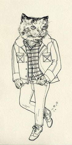 Lisa Hanawalt - (bw, black and white, cat, illustration, plaid, hipstar, kitty, walking, clothes) -