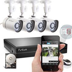 Funlux 4 Outdoor HD Security Camera with sPoE NVR Surveillance System, Hard Drive Video Surveillance Cameras, Surveillance Equipment, Security Surveillance, Surveillance System, Hd Security Camera, Home Security Camera Systems, Outdoor Home Security Cameras, Diys, Best Deals