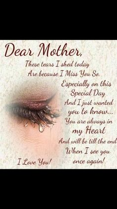 Mother's Day In Heaven, Mom In Heaven Quotes, Mother In Heaven, Missing Mom In Heaven, Missing Mom Quotes, Rip Mom Quotes, Miss You Mom Quotes, Family Quotes, Loved One In Heaven