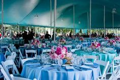 Lunch tables were dressed up with BBJ's Tiffany-blue linens and Kehoe Designs' pink floral arrangements.