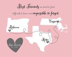 3 Best Friends Sisters Maps Gift for Friends by WanderingFables, $25.99 @Ronette Stewart Stewart Moore
