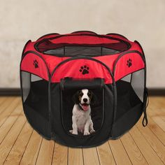 """48/"""" Portable Dog Playpen Puppy Exercise Kennel Animal Outdoor Indoor Pet Pen Red"""