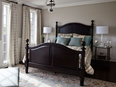 #Dark wood #drapes #taupe Bedroom Decoration Ideas - Decorating a Master Bedroom - Good Housekeeping