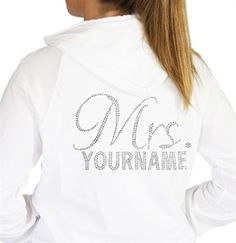 #BacheloretteParty Mrs. Script Custom Rhinestone Hoodie | Bachelorette Party Gifts
