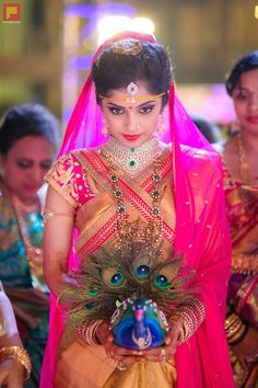 Bridal makeover looks so gorgeous. South Indian Weddings, South Indian Bride, Telugu Wedding, Wedding Bride, India Wedding, Wedding Gold, Desi Wedding, Wedding Events, Wedding Dresses