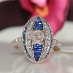 Vintage 18k White gold Natural Blue Sapphire & Diamond cluster ring Band 1.52ctw #Cluster