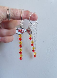 62c007c8592 Kansas City Chiefs Long Earrings Red and Gold Crystal Shoulder Duster Pro  Football KC Chiefs Jewelry