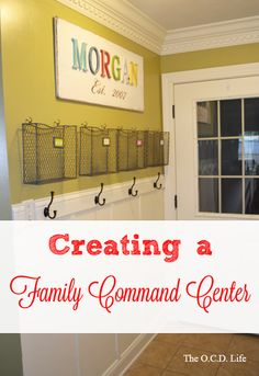 Love this simple, effective and attractive command center! Creating a Family Command Center at orgjunkie.com
