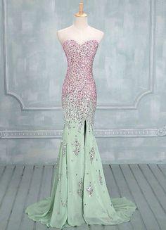 Custom Made Mermaid Sweetheart Neck Long Prom Dresses,