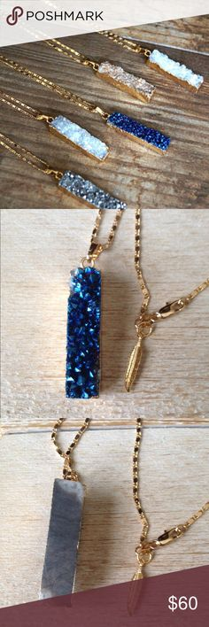 """Druzy Bar Gold Necklace in Blue Super Sparkly Druzy bar gold pendant necklace in blue. Stone is electroplated in gold. Comes on tarnish resistant gold plated 24"""" long chain. Lobster clasp along with Function & Fringe's signature gold plated feather charm at the clasp.  Additional colors seen above are sold separately in my closet. All Function & Fringe jewelry is designed and made with ❤️ in California! Function & Fringe Jewelry Necklaces"""