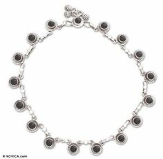Onyx anklet, 'Dark Moon' NOVICA. $67.95. Handmade by Neeru Goel.. Normally ships directly from India within 10 days.. A fair trade product. Save 47%!